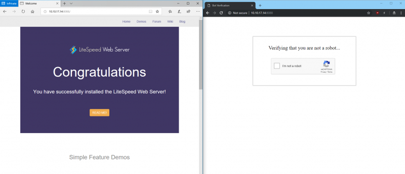 The browser on the left is Microsoft Edge, the browser on the right is Chrome.